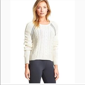 Athleta Dove Cable Knit Montara sweater